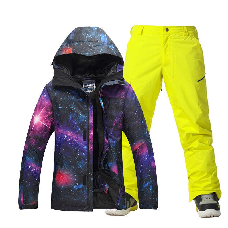 ... Новый Gsou снег Для мужчин лыжный костюм ветрозащитная Водонепроницаемый  уличная спортивная одежда отдых езда Лыжный Спорт ... 612f5bd62af