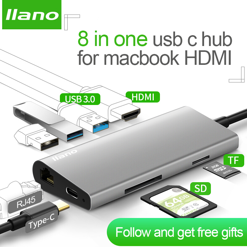 llano USB docking station All in One USB C to HDMI Card Reader RJ45 PD Adapter for MacBook Samsung Galaxy S9 /S8 / S8+Type C HUB