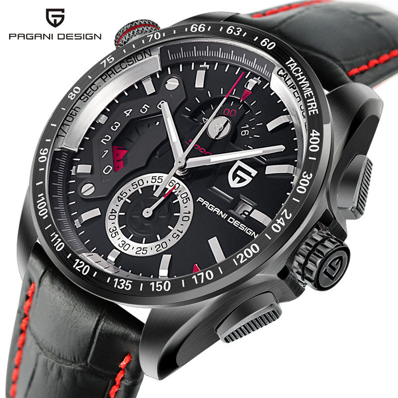 PAGANI DESIGN Army Aviator Mens Watch Chronograph Date Genuine Leather Outdoor Wrist Watches 3ATM Water Resistant Men Clock +Box business men sport outdoor men water resistance cool genuine leather plaid band strap wrist watch date day army trendy orologio page