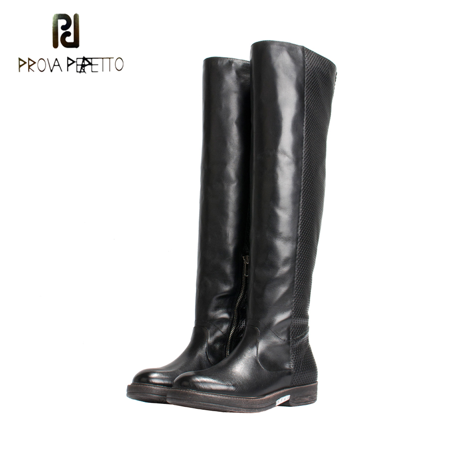 Prova Perfetto Genuine Leather Over The Knee Boot Women Round Toe Thick Heel Knight Boots Handmade High Quailty Thigh High Boot prova perfetto brown women genuine leather high heel boot platform mid calf high boots buckle straps martin botas shoes woman