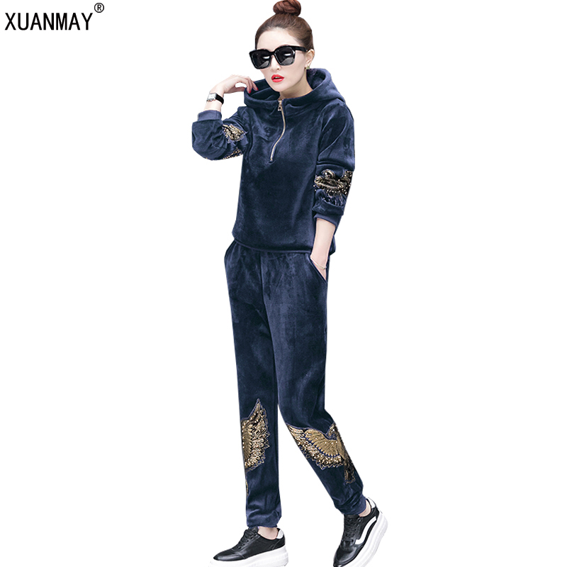 Women Winter Suits Velvet Tracksuits Fashion embroidery Hoodies Tops Long Pants Flannel Sporting Suits