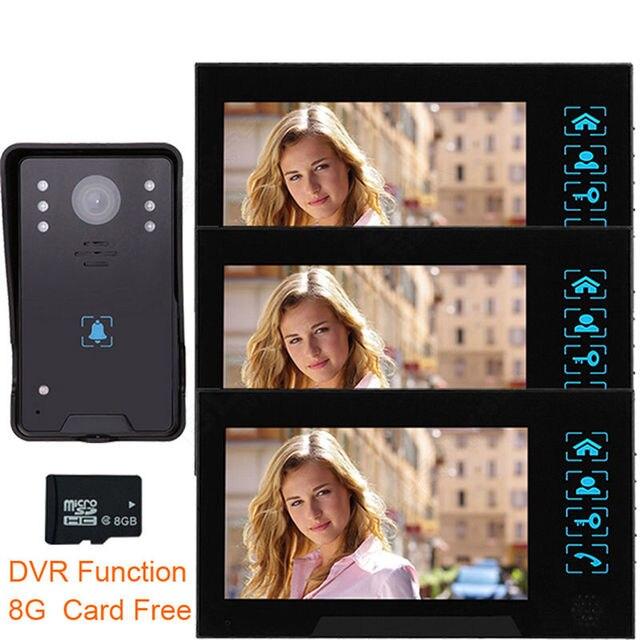 "Blueskysea 7"" LCD TFT 3x Monitor HD Camera Doorbell Intercom 8GB Home Security Door Phone"