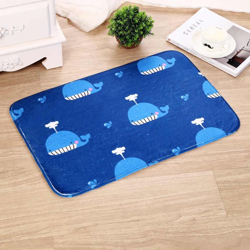 夢 NS 40 × 60 センチメートルホット北欧スタイル浴室マット印刷漫画小クジラフランネルマット