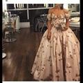 Mais Vendidos do Querido Appliqued Frisado Flor de Manga Curta vestido de Baile Vestidos de Baile