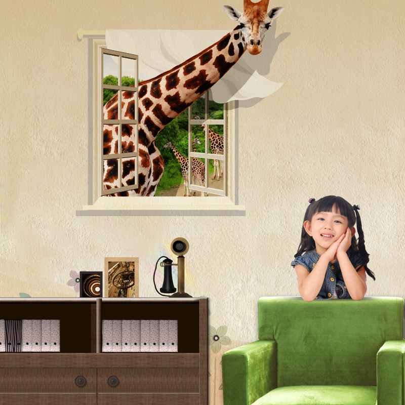 new giraffe 3d wall stickers creative animal wall posters kids room rh aliexpress com Posters On Wall in Room Wall Covered in Posters