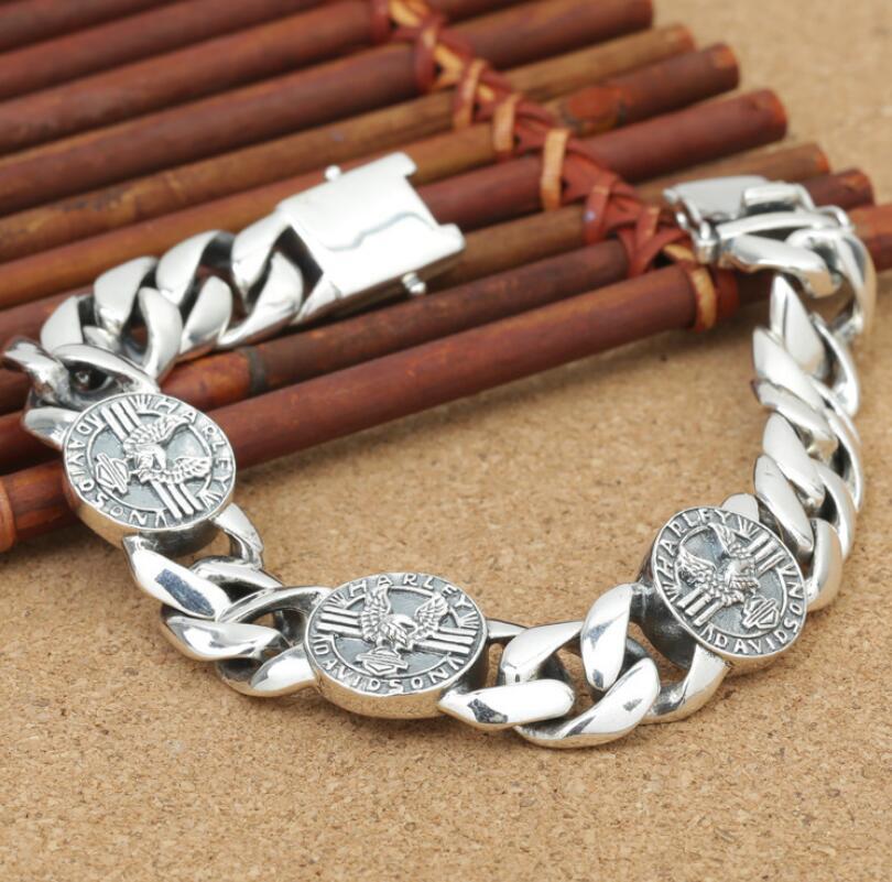 925 sterling silver retro silver men's chain link round disc big flat bracelet bangle