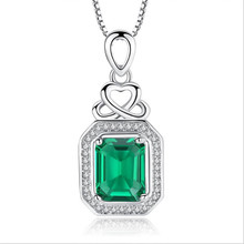 TJP 2018 Hot Sale Crystal Green Square Pendants Necklace Girl Party Accessories Charm 925 Silver For Women Jewelry Lady