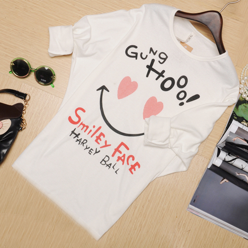 259dd65e1a Free Shipping 2015 Cute Sweet Women T Shirt Girl Smile Print Loose Batwing  Sleeve T Shirts Cotton Casual Tshirt Women Tops-in T-Shirts from Women's  Clothing ...