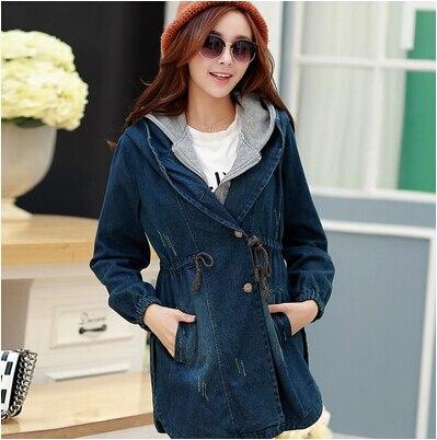 Новый 2015 осень зима верхняя одежда и пальто женщин джинсы пальто кардиганы тонкий женщины свободного покроя платье пальто для женщин пальто