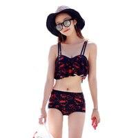 2017 Summer Top Quality Beach Swimwear Sexy Character Women 3 Pieces Bikini Pink Girl Sling Push