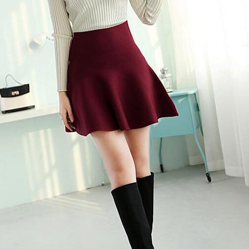 Slim Winter Women High Waist Midi Tutu Skater Pleated Skirt Black Vintage Short Plaid Skirt Ladies MF489652