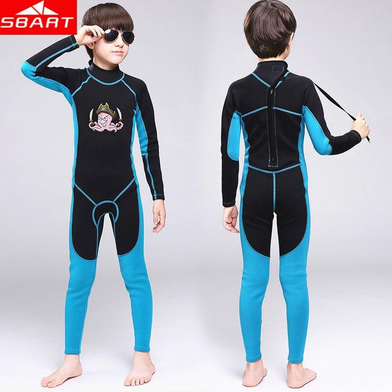 SBART 2MM Neoprene Kids Wet Suits Boys and girls Scuba Diving Wet Suits One-Piece Rear Zipper Snorkeling Children Diving Wetsuit sbart upf50 806 xuancai