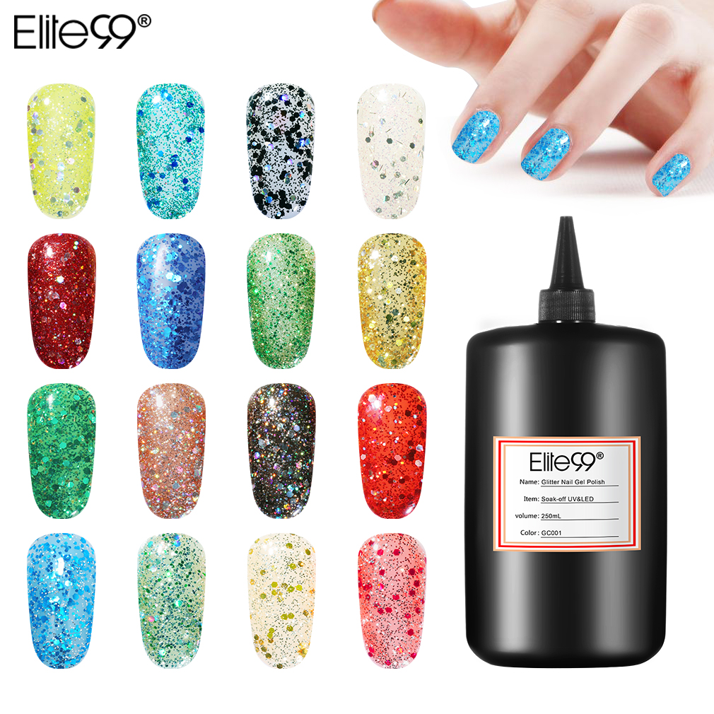 Elite99 Soak Off UV & LED Lamp Glitter Gel Nail Polish 250ML Varnish Top Base Coat Nail Primer Semi Permanent