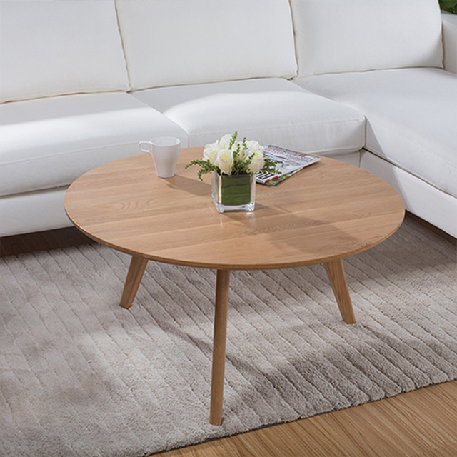 Round Coffee Table Oak: 90 CM Round White Oak Solid Wood Coffee Table-in Coffee