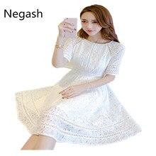 27a951eda0a Корейский белое платье дамы туника Флора большие качели вечерние платье Для  женщин Хлопок Кружева полые вышивки