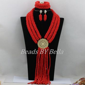 Fashion Braid Nigerian African Wedding Beads Bridal Jewelry Sets Red Crystal Beads Necklace Set 2017 New Free Shipping ABF454