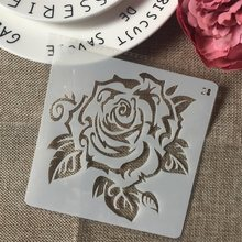1Pcs 13 Cm Rose Bunga DIY Layering Stensil Lukisan Dinding Scrapbook Mewarnai Embossing Album Dekoratif Kartu Template(China)