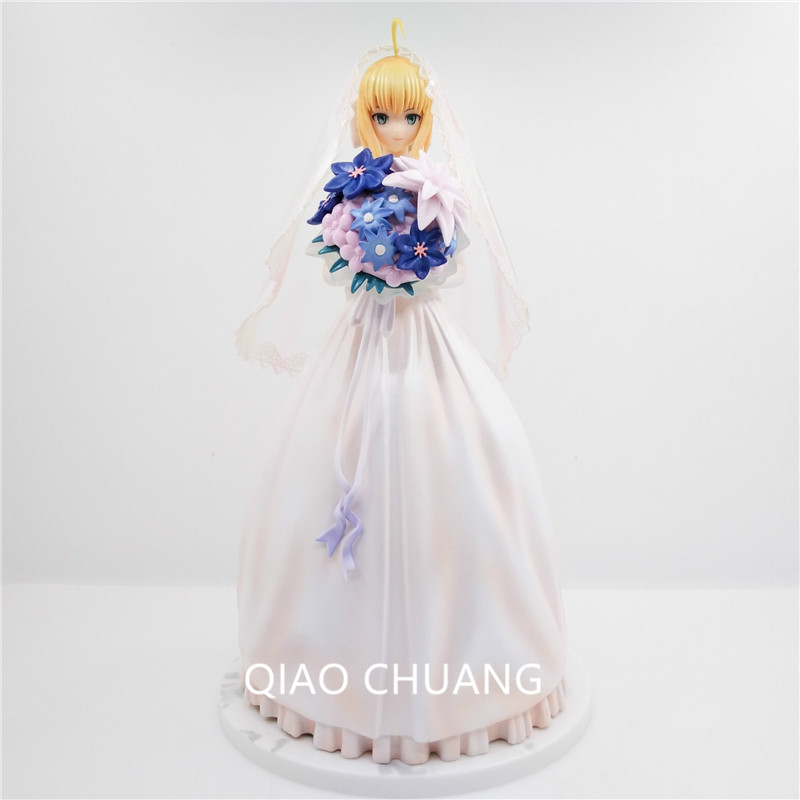 Fate/stay Night Saber Lily Royal Dress White Wedding Dress 10th Anniversary Action Figure PVC 25cm Collection Wedding Doll G367 9 5 fate stay night saber figure lily10th anniversary wedding dress regal robes boxed pvc action figure collection model