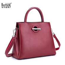 BRIGGS Brand Genuine Cow Leather Tote Bag Fashion Women Handbag Female Small Shoulder Crossbody Bags High Quality Solid Handbag