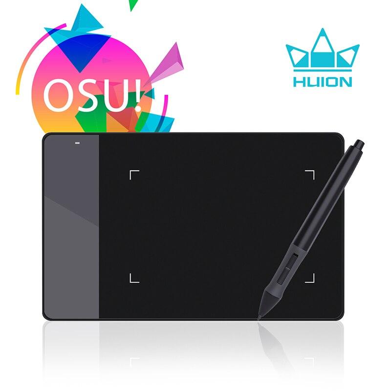 HUION 420 Digital Tablet dibujo gráficos OSU juego Tablet presión firma Pad con diez plumillas blanco y negro
