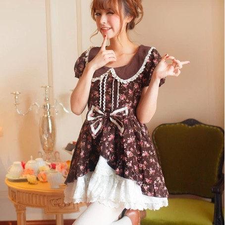 Princess sweet lolita dress Doll collar lace floral coffee brown with bow pin ball gown one piece beautiful dress UF151