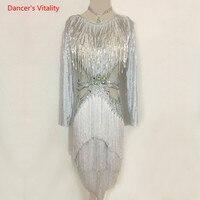 Для взрослых и детей для латинских танцев костюм Латинской платье для танцев роскошные алмаз кисточкой платье для Для женщин/девочек латин