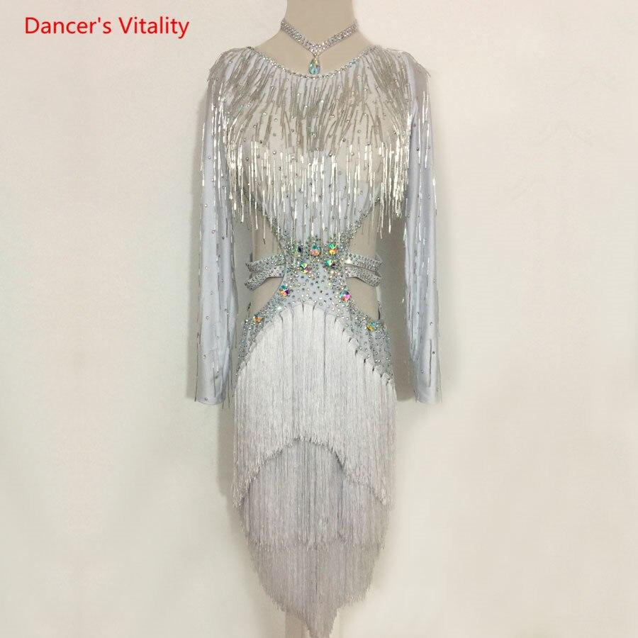 Adulte Enfants De Danse Latine Costume De Danse Latine Robe De Luxe Diamant Gland Robe Pour Les Femmes/Filles Latine Concours De Danse Vêtements
