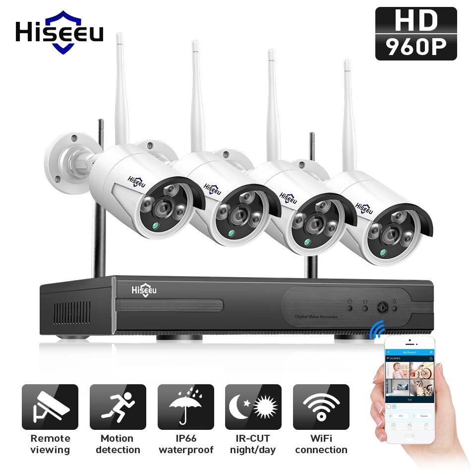 Hiseeu 960 P NVR 4 шт. 960 P Беспроводной видеонаблюдения Системы Открытый IP Камера WI-FI Водонепроницаемый Видео видеонаблюдения комплект IP Pro
