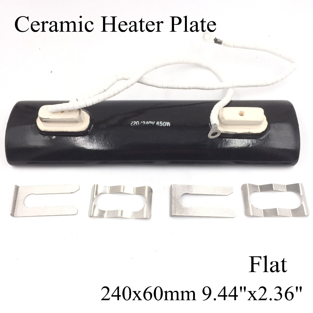 220V 240x60mm Double-Head Flat Black IR Infrared Ceramic Heater Plate Air Heating Board Pad For BGA Station Mould PTC Heater