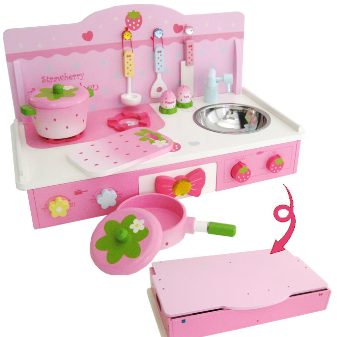 Free Shipping!Wooden Toys Mother Garden Folded Kitchen Toys Set Child Cook Food Pretend Play Toy Girls Toys gift