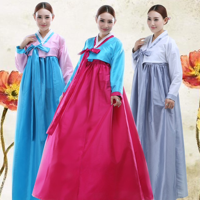 High Quality Long Sleeve Korean Tradition Dress Plus Size Colorful Women  Korean Hanbok Korean Ancient Costume d4bbb9eb4074
