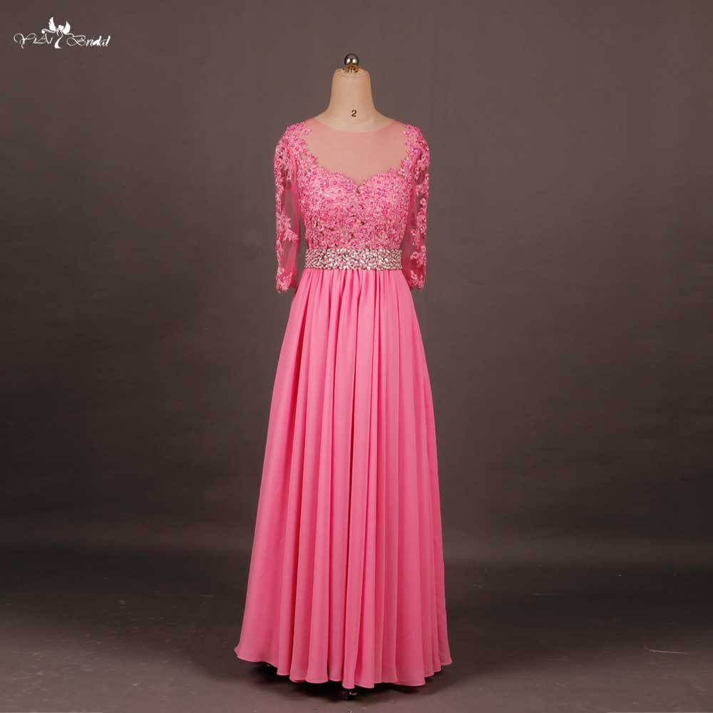 Rse604 long sleeve peach lace chiffon bridesmaid dresses for Long sleeve chiffon wedding dress