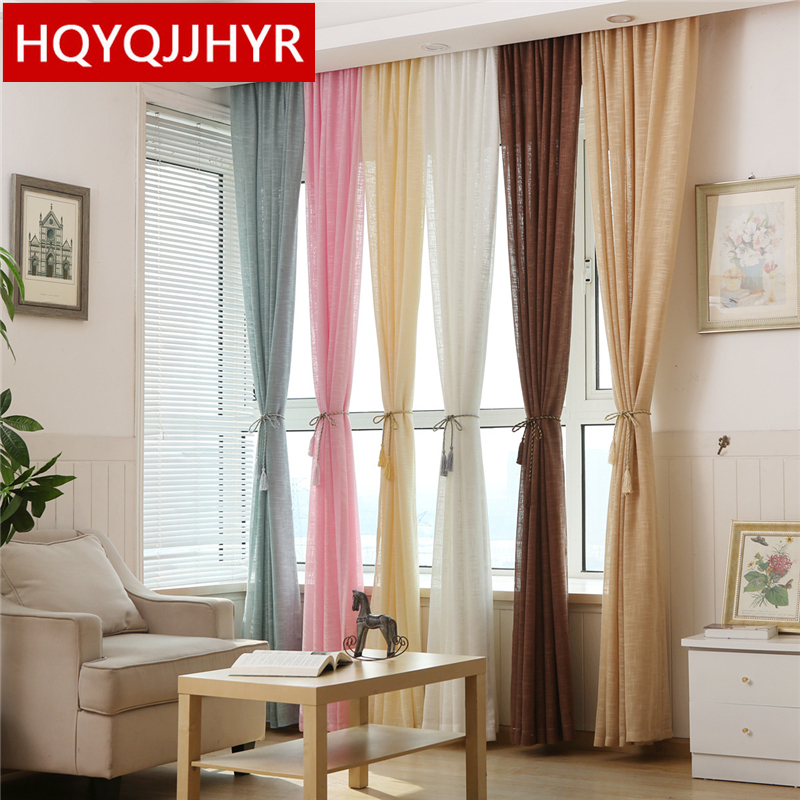 european high grade solid thick linen tulle curtains for