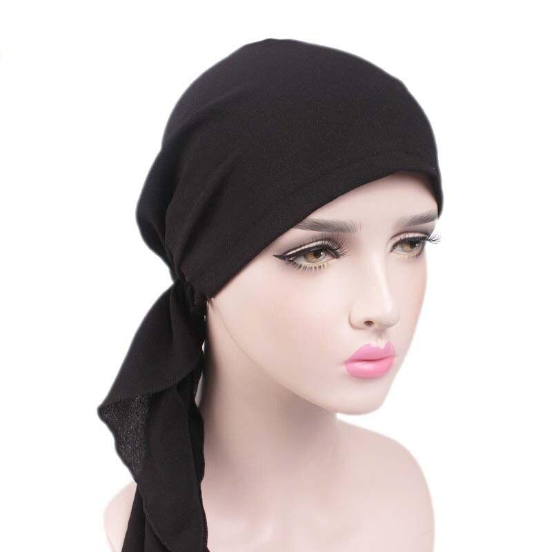 74986d586 Mujeres Hijab bufanda de cabeza musulmana tapa turbante impreso sombrero  bufanda Bandanas Ombre Multicolor cola larga