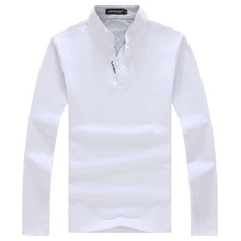 new 2017 men's fashion boutique bump color cotton slender leisure standing collar long sleeve POLO shirts / Male casual T-shirts