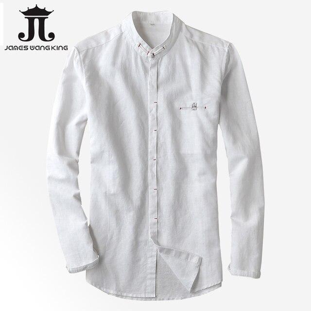 7eee372afc96ac Stile cinese di Lino camicie uomo colletto a maniche lunghe camicia  Respirabile uomo Slim camicia per