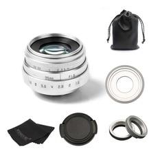 Новое поступление Фуцзянь 35 мм F1.6 C крепление камеры Объективы для систем Скрытого видеонаблюдения II для Sony NEX e-горе камеры и комплект адаптера Серебро Бесплатная доставка