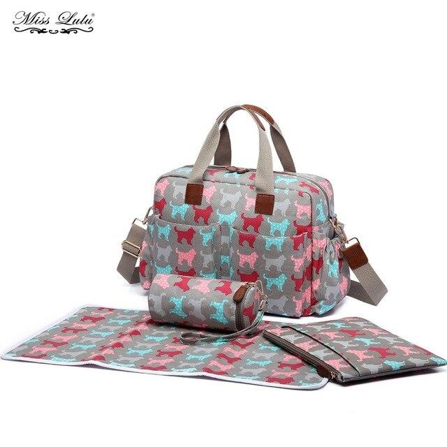 Miss Lulu 4pcs Dog Baby Diaper Ny Changing Bag Set Mummy Maternity Handbag Satchel Tote Stroller