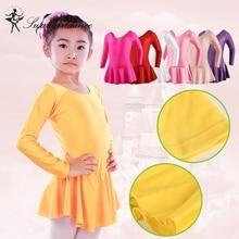 Girls Ballet shiny spandex leotards with skirt long sleeve dance costume ballet clothes for sale child ballerina dress SD4016