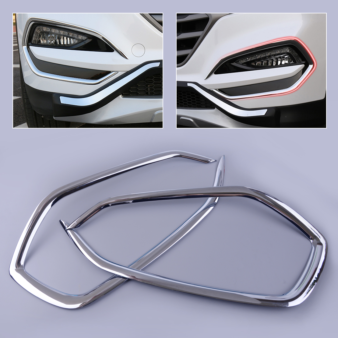 CITALL 1 Pair Silver ABS plastic Chrome Plated Front Fog Light Cover Trim Fit for Hyundai Tucson 2016 2017 2018 Car Styling(China)