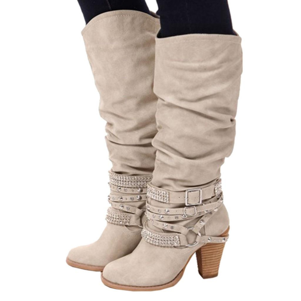 High quality women knee high boots fashion Strap Buckle booties block high heels  Retro strappy rivet shoes women 2018 botas negras largas con tacon grueso