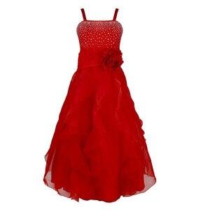Image 4 - Dzieci dziewczyny bez rękawów Organza Tutu księżniczka kwiat sukienki dla dziewczynek lato ślub urodziny długa sukienka na imprezę pierwsza sukienka komunijna