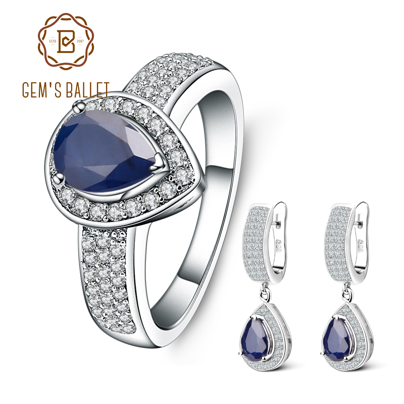 GEM S BALLET Natural Blue Sapphire Classic Jewelry Set 925 Sterling Silver Gemstone Earrings Ring Set