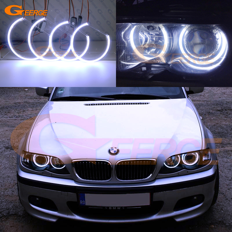 For BMW E46 3 Series Coupe PRE-FACELIFT Xenon headlights 2000-2003 Excellent Ultra bright illumination COB led angel eyes kit for bmw e46 cabrio coupe 325ci 330ci 2004 2005 2006 facelift excellent ultra bright illumination smd led angel eyes kit drl