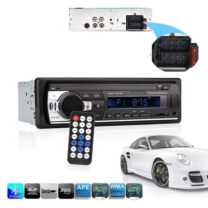 Single Din Car Stereo Audio 12V Bluetooth V2.0 In-dash FM Receiver Aux Input Receiver USB MP3 MMC WMA FLAC Car Radio Player 12v 1 din in dash bluetooth auto car radio stereo mp3 audio player fm aux input receiver support usb sd mmc remote control