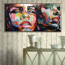 Nielly Francoise artwork hand painted moonlight face art party decoration Modern Abstract oil painting on canvas