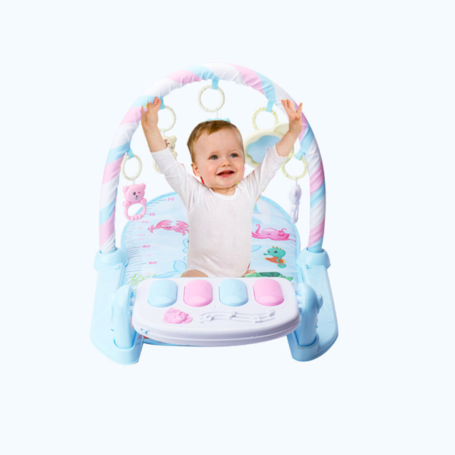 Newborn Baby Fitness Bodybuilding Frame Pedal Piano Music Carpet Rocking Chair Activity Kick Play Education Toy 2