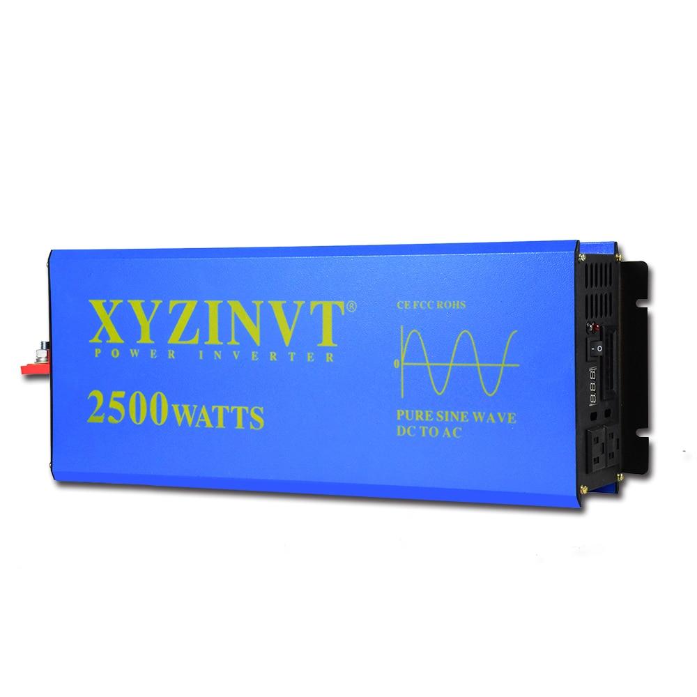 2500w Pure Sine Wave Power Inverter Car Charger Controller LED display Battery Off-grid Solar DC 12V 24V 48V to AC 120V 220V