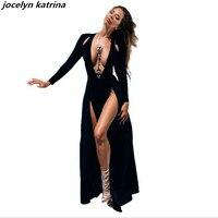 Jocelyn Katrina Brand Sexy Deep V Neck Long Sleeve Split Prom Maxi Dress Club High Side
