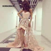 Doragrace Charming Assymetric High/Low Applique Evening Party Dresses Prom Gowns Plus Size